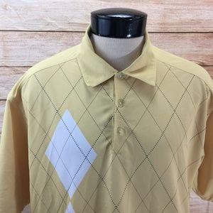 Nike Golf Polo Shirt L Yellow Geometric
